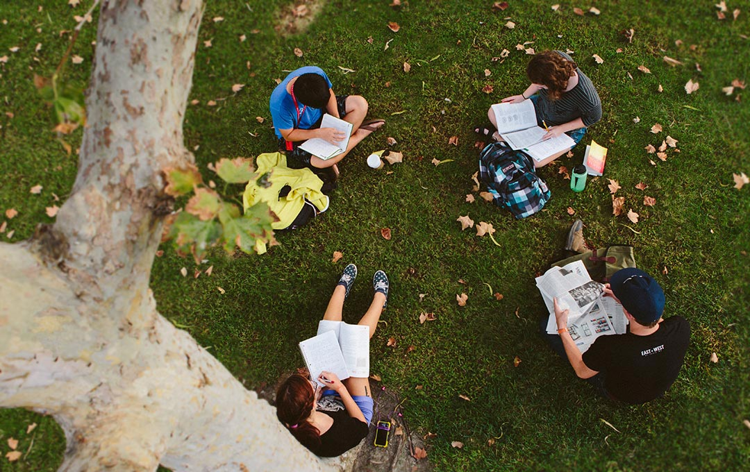 A group of Biola students studying on the lawn